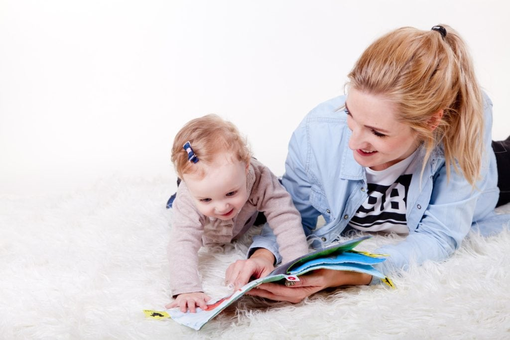 Baby and Mom reading